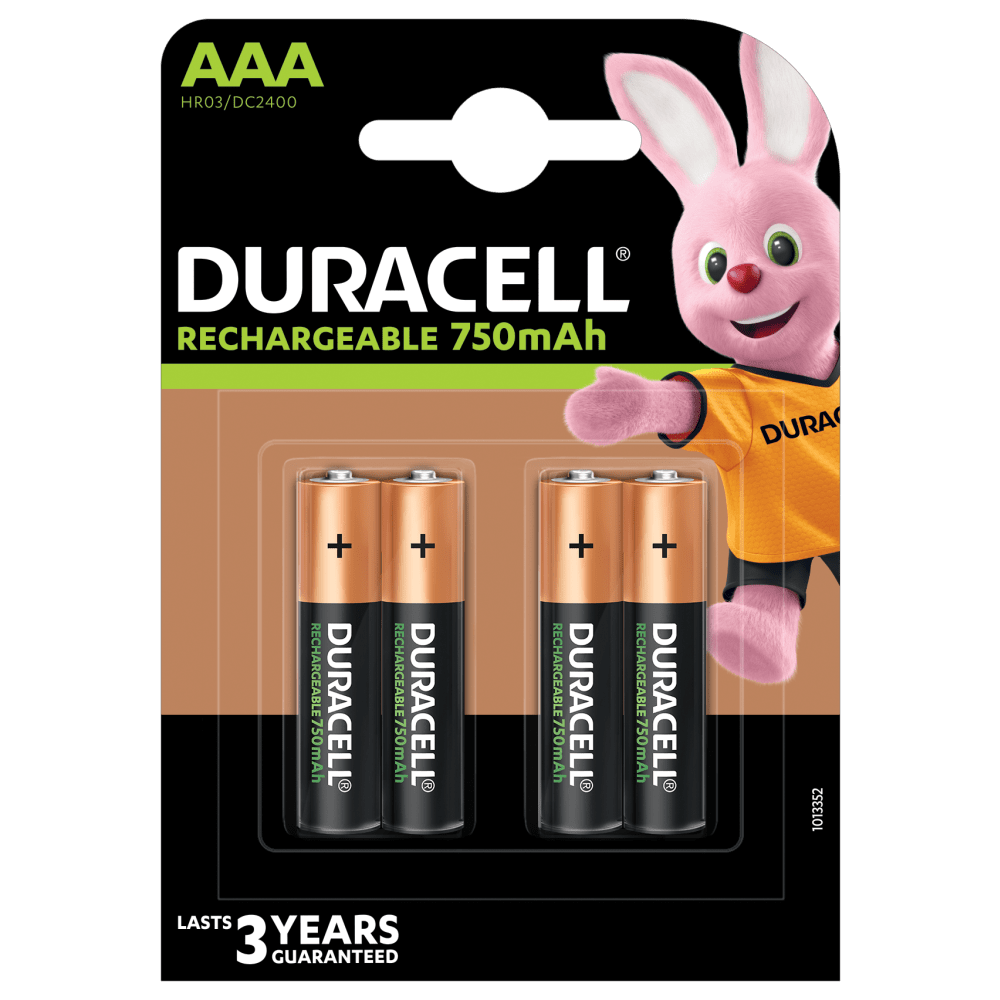 Duracell rechargeable AAA-750mAh paquete de 4 piezas